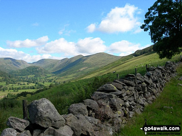 Stony Cove Pike (Caudale Moor) (left), Thornthwaite Crag, Froswick, Ill Bell and Yoke (right) from Garburn Road near Troutbeck Park