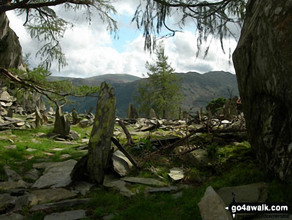 Slate stones on Castle Crag. Walk route map c135 Castle Crag and Rosthwaite from Seatoller, Borrowdale photo