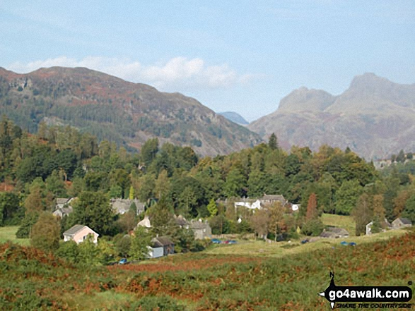 Elterwater with Lingmoor Fell (left) and The Langdale Pikes (right)
