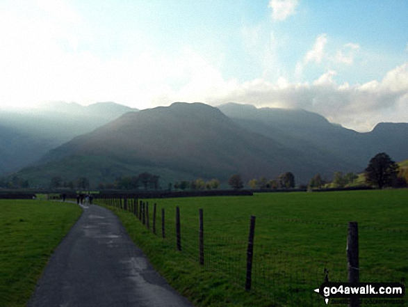 Early evening in Langdale with The Band leading to Crinkle Crags and Bow Fell (Bowfell) from near Stool End Farm