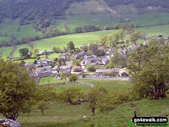 Looking West onto Starbotton village from Cam Head. Walk route map ny137 Buckden Pike via Buckden Beck from Buckden photo