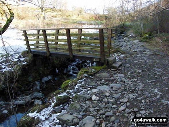 Footbridge over Brockle Beck. Walk route map c201 Ashness Bridge and Walla Crag from Keswick photo