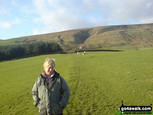 My Wife Sue with Pendle Hill beyond from nr Barley Green