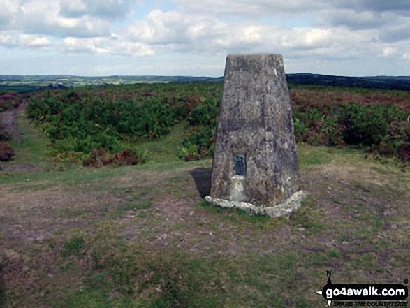 Hadborough summit trig point. Walk route map so106 Haddon Hill and Wimbleball Lake from Bury photo