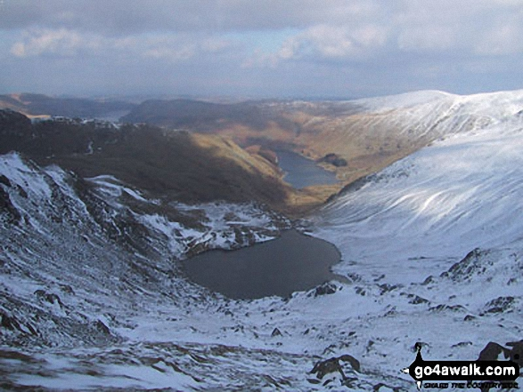 Small Water and Haweswater Reservoir from Nan Bield Pass. Walk route map c251 The Mardale Head Horizon from Mardale Head photo