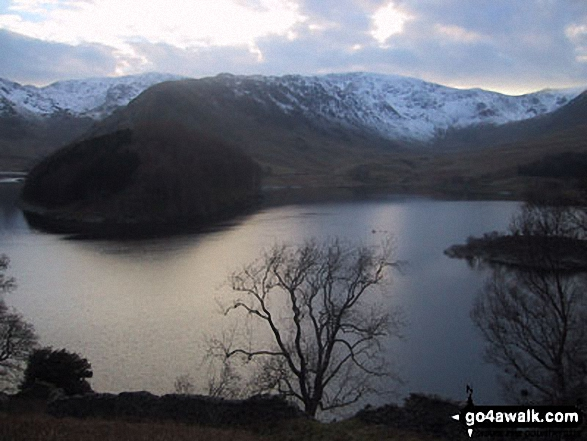 High Street, The Rigg and Rough Crag (Riggindale) across Haweswater Reservoir. Walk route map c114 High Street from Mardale Head photo