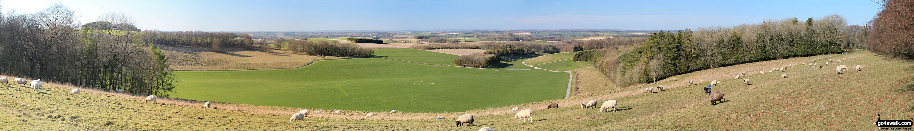 Panoramic view from Cheesefoot Head (Matterley Bowl)