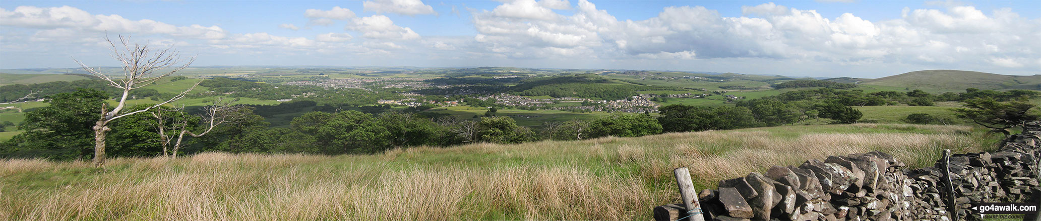 The view east towards Buxton from the summit of Burbage Edge