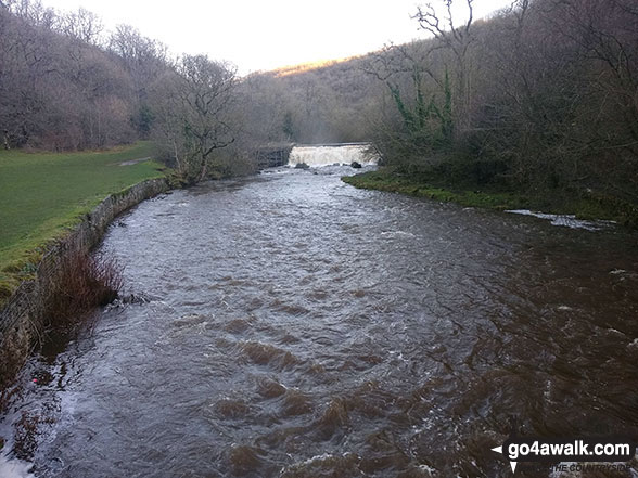 Approaching the weir on the River Wye in Monsal Dale