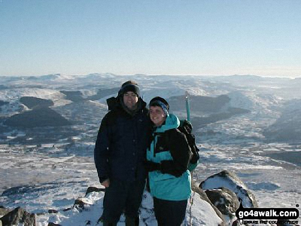 Me and my Fianc on Carnedd Moel Siabod. Walk route map cw214 Carnedd Moel Siabod from Pont Cyfyng, Capel Curig photo