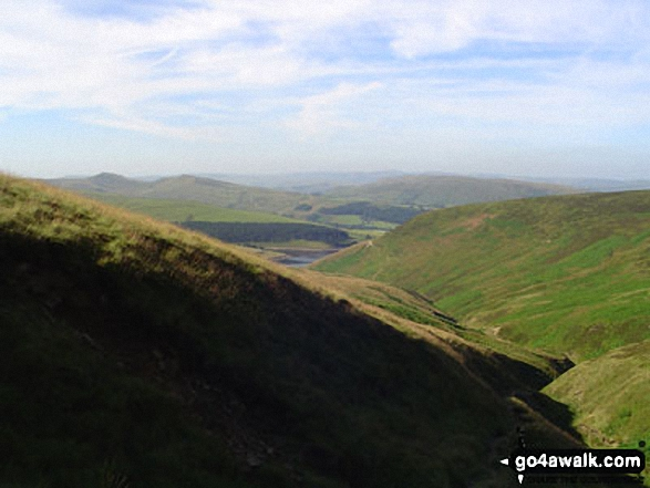 Kinder Reservoir and Hayfield from Kinder Scout. Walk route map d296 Jacob's Ladder and Kinder Scout from Edale photo