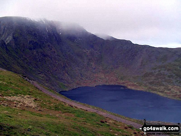Helvellyn (left), Swirral Edge and Red Tarn (Helvellyn) from the approach to Striding Edge near Hole-in-the-Wall