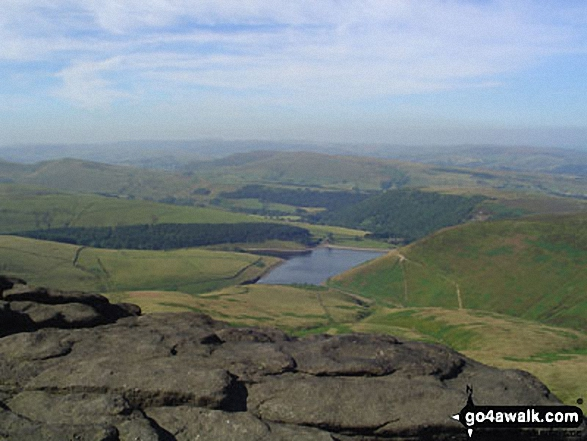 Kinder Reservoir and Hayfield from Kinder Downfall. Walk route map d296 Jacob's Ladder and Kinder Scout from Edale photo
