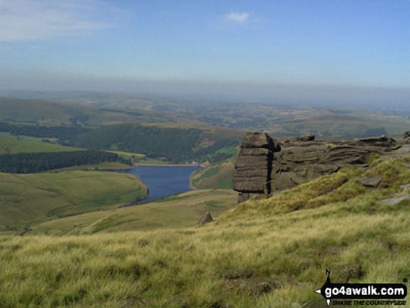 Kinder Reservoir and Hayfield from Sandy Heys, Kinder Scout. Walk route map d296 Jacob's Ladder and Kinder Scout from Edale photo