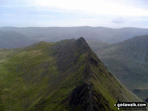 The famous view of Striding Edge from Helvellyn. Walk route map c394 Helvellyn, Catstye Cam and Sheffield Pike from Glenridding photo