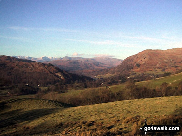 Loughrigg Fell (left), Rydal Water and Nab Scar from High Sweden Coppice. Walk route map c247 The Fairfield Horseshoe from Ambleside photo