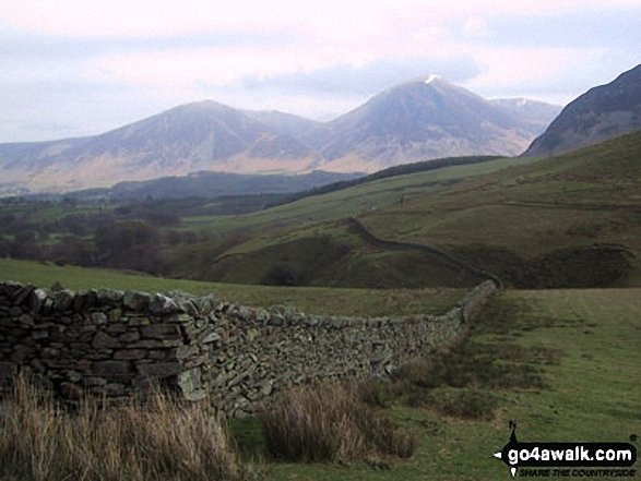 Whiteside (Crummock) (centre left) and Grasmoor (centre right) and the shoulder of Mellbreak (far right) from above High Nook Farm, Loweswater. Walk route map c212 Burnbank Fell, Gavel Fell, Hen Comb and Mellbreak from Loweswater photo
