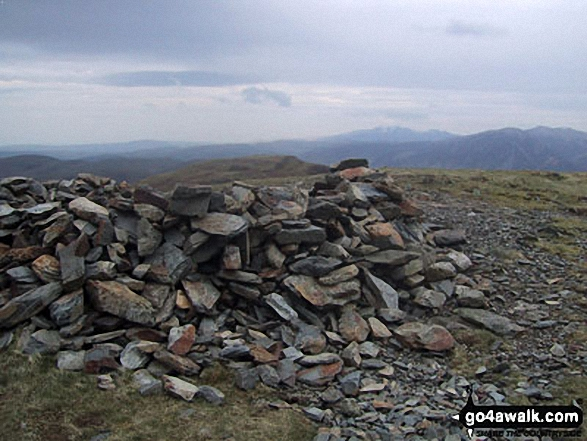 Blake Fell summit cairn. Walk route map c212 Burnbank Fell, Gavel Fell, Hen Comb and Mellbreak from Loweswater photo