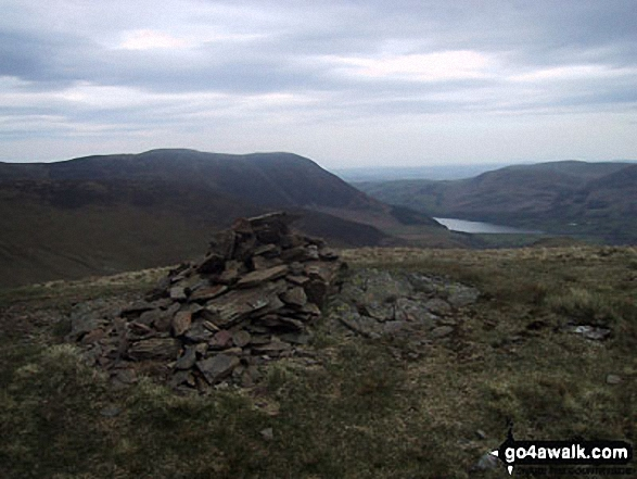 Hen Comb summit cairn with Mellbreak and Crummock Water beyond. Walk route map c212 Burnbank Fell, Gavel Fell, Hen Comb and Mellbreak from Loweswater photo
