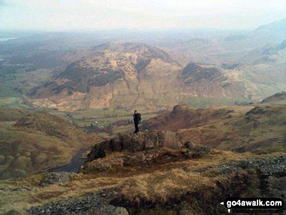 Me on Pavey Ark at the top of Jack's Rake, The Langdale Pikes with Lingmoor Fell across Great Langdale Valley in the background