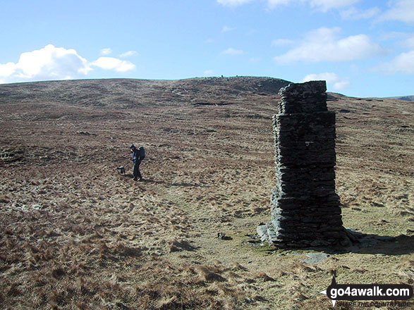 Stone pillar in the col between Branstree (North East Top) and Branstree (Artlecrag Pike)
