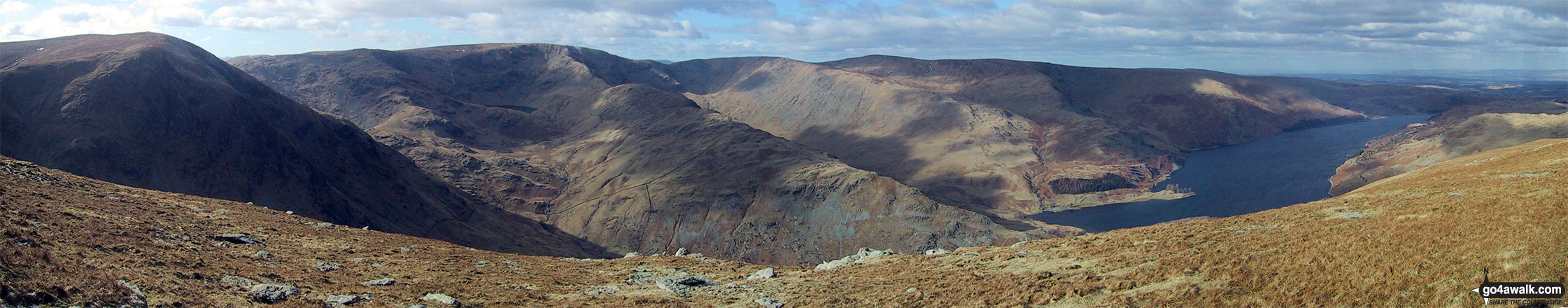 The view from the summit of Branstree (Artlecrag Pike) featuring Harter Fell (Mardale) (left), High Street, Rough Crag, High Raise (Mardale) and Whether How above Haweswater Reservoir