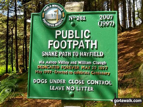 Public Footpath sign by the River Ashop near Birchin Clough