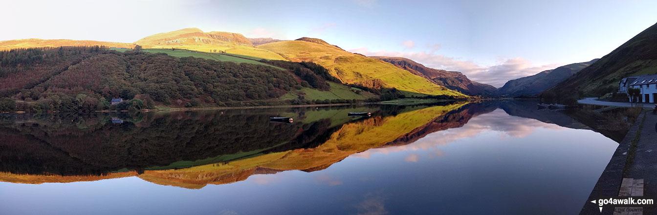 Craig Cwm Amarch above a flat calm Tal-y-llyn Lake (Llyn Mwyngil) from Tal-y-llyn