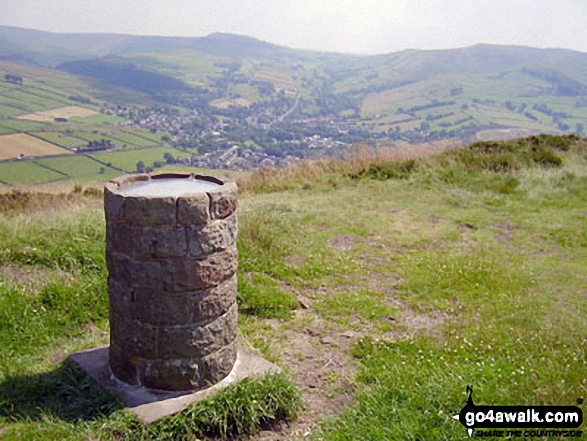 Lantern Pike summit with Mill Hill (Ashop Head), Kinder Scout and<br>Chinley Churn and Hayfield beyond