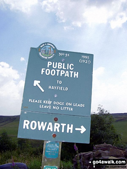 Public Footpath No 55 sign near Rowarth