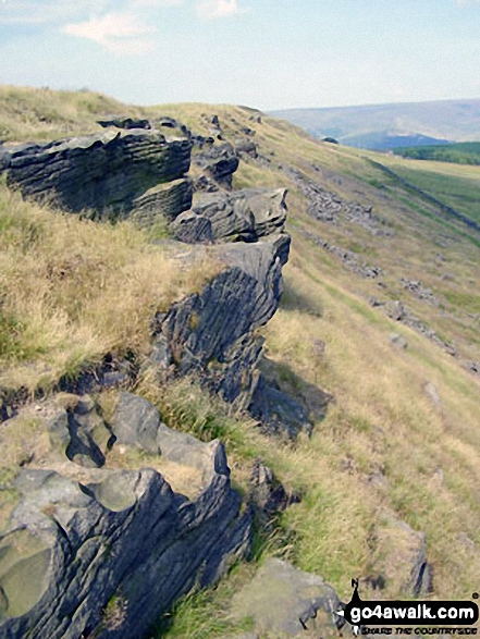 Cown Edge Rocks summit. Walk route map d171 Lantern Pike and Cown Edge Rocks from Hayfield photo
