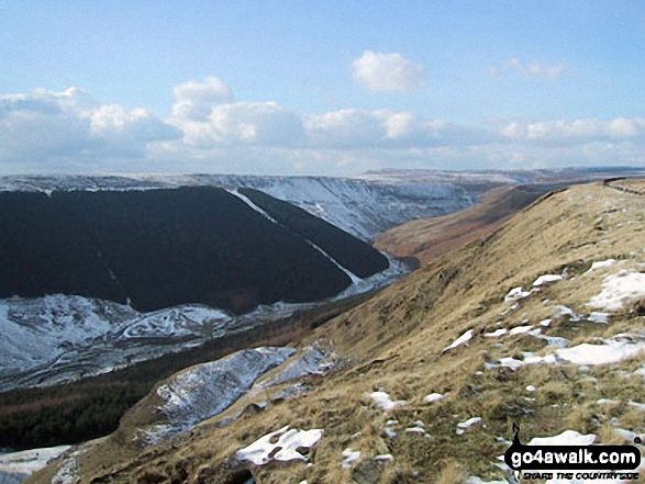 Kinder Scout from The Tower, Alport Castles in the snow