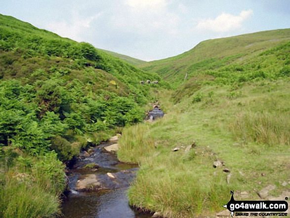 Hollingwood Clough. Walk route map d171 Lantern Pike and Cown Edge Rocks from Hayfield photo