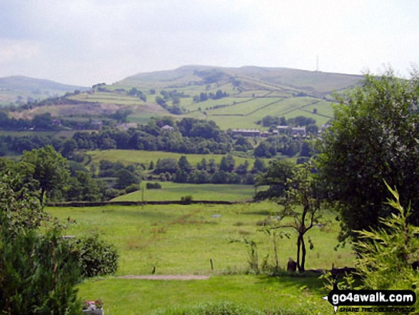 Chinley Churn above Birch Vale and The Sett Valley Trail from<br> The Pennine Bridleway on the lower slopes of Lantern Pike. Walk route map d171 Lantern Pike and Cown Edge Rocks from Hayfield photo