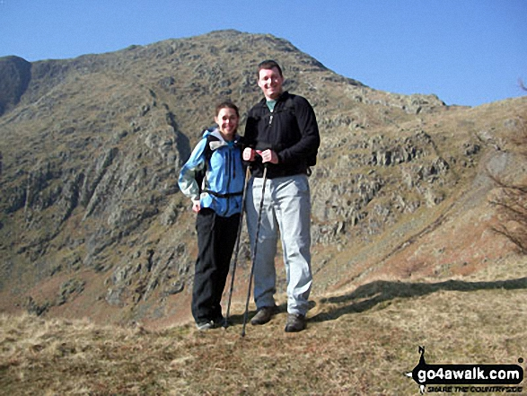 Walk c222 Swirl How and Wetherlam from Coniston - The next challenge awaits, Mel and Rick approaching Wetherlam