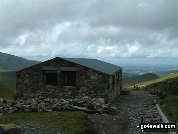 Snowdon (Yr Wyddfa) Summit Cafe. Walk route map gw100 Mount Snowdon (Yr Wyddfa) from Pen y Pass photo
