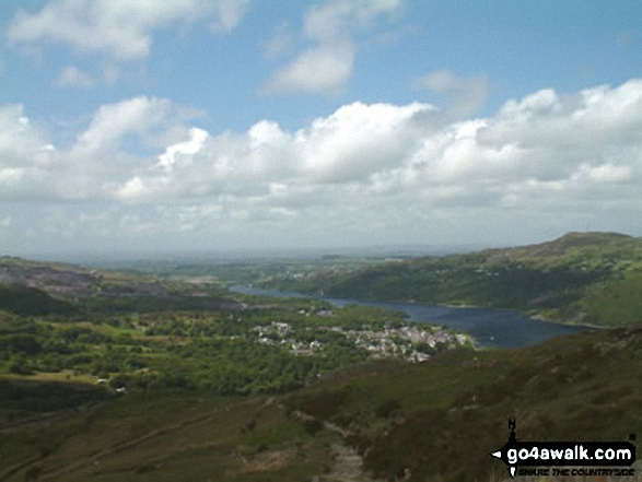 Llanberis from Snowdon. Walk route map gw158 Snowdon, Moel Cynghorion, Foel Gron and Moel Eilio from Llanberis photo