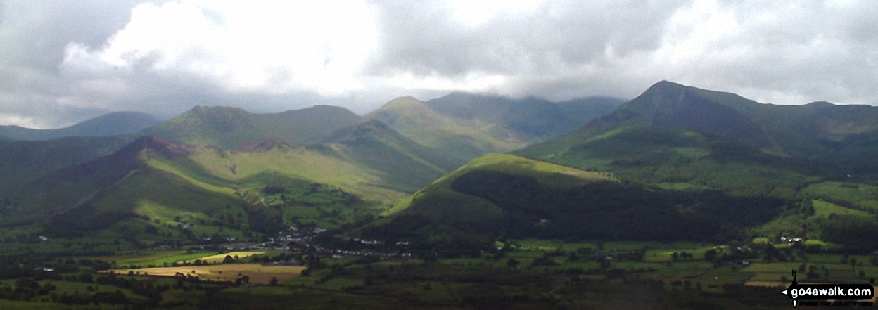 *Cat Bells (Catbells) (left), Causey Pike (centre), Grisedale Pike (right) and Braithwaite (foreground) from Doups
