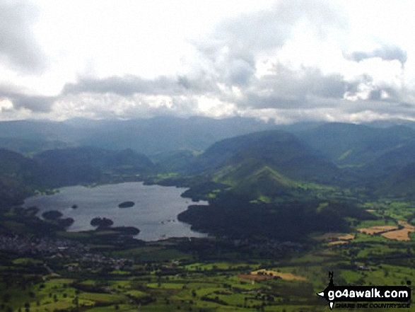 Derwent Water and Cat Bells (Catbells) from Skiddaw. Walk route map c236 Skiddaw from Millbeck, nr Keswick photo