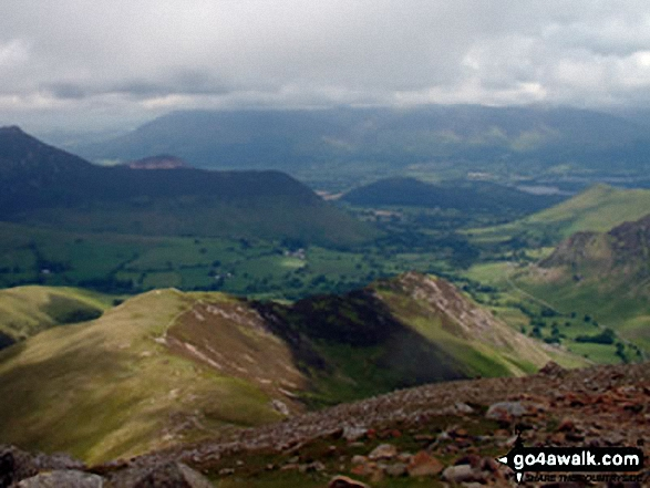 The Newlands Valley from Dale Head (Newlands). Walk route map c100 The Newlands Horseshoe from Hawes End photo
