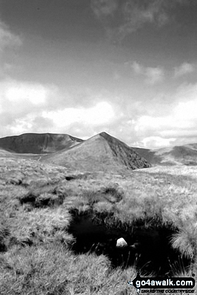 Catstye Cam (centre) and Helvellyn from Birkhouse Moor. Walk route map c394 Helvellyn, Catstye Cam and Sheffield Pike from Glenridding photo