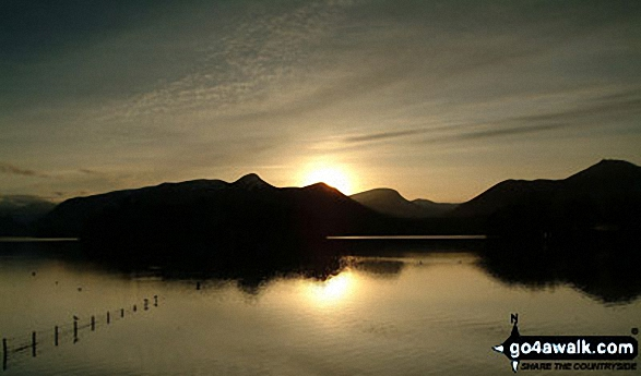 Sunset on Derwent Water from Friar's Crag. Walk route map c265 A Circuit of Derwent Water from Keswick photo