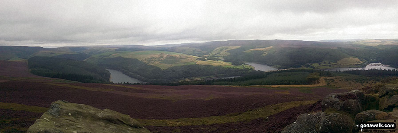 Panoramic from top of Winhill Pike (Win Hill) featuring Ladybower Reservoir