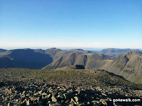 Walk c454 Scafell Pike via The Corridor Route from Seathwaite - Red Pike (Wasdale) and Little Scoat Fell (left), Mosedale, Pillar and Kirk Fell (centre) and Great Gable (right) from the summit of Scafell Pike
