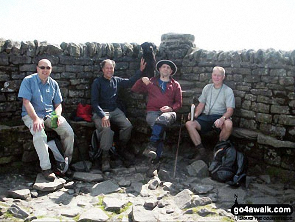 Alan, Pete, Stuart, Richard and Jess the Dog on Ingleborough.