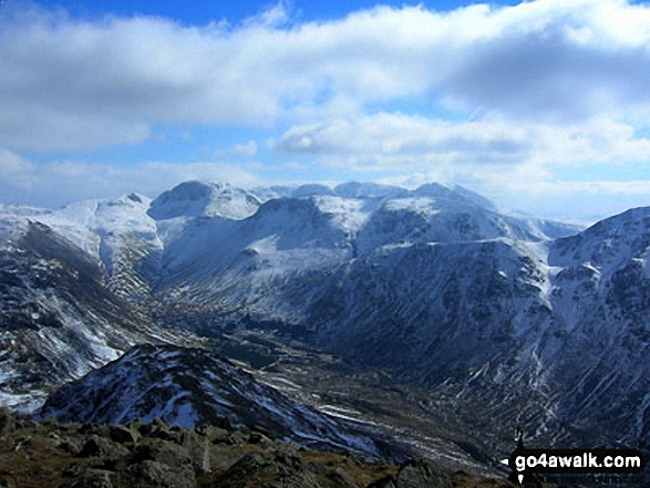 Green Gable, Great Gable (left of centre), Kirk Fell (centre) and Pillar (right) with the Scafell Massif beyond (centre) from High Crag