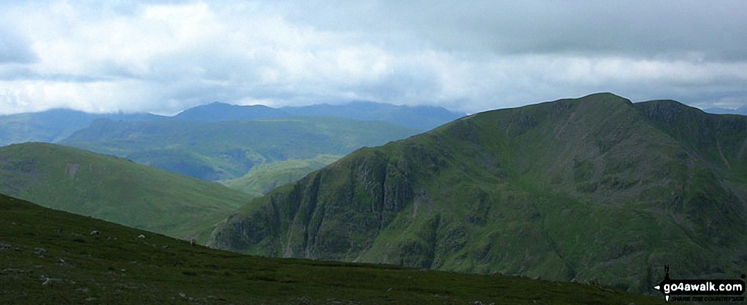 Dollywaggon Pike (right) with The Langdale Pikes (mid distance) and Bow Fell (Bowfell) and
