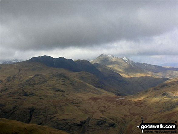 Crinkle Crags (centre left) with Bow Fell (Bowfell) beyond from near Prison Band below Swirl How