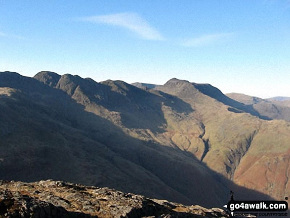 Crinkles and Bowfell from Pike of Blisco (Pike o' Blisco). Walk route map c389 Great Rigg, Fairfield and Hart Crag from Ambleside photo