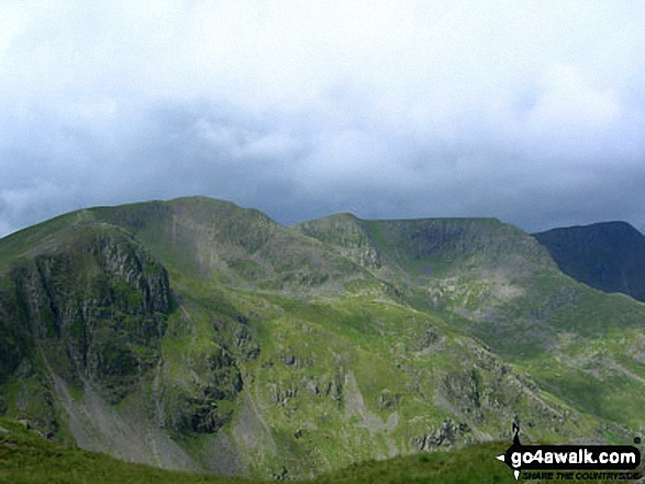 Dollywaggon Pike, Nethermost Pike and Helvellyn from Cofa Pike near the summit of Fairfield